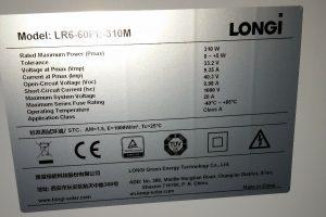 Instalacja fotowoltaiczna o mocy 6,2kWp - dane znamionowe paneli firmy monokrystalicznych Longi.